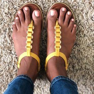 Aldo T-strap yellow sandal